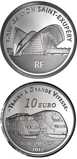10 euro coin Lyon Saint-ExupérystationTGV South East and the TGV Duplex | France 2012