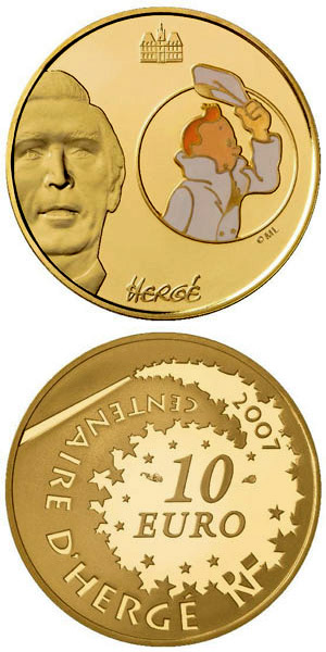 Image of Tintin  – 10 euro coin France 2006.  The Gold coin is of Proof quality.