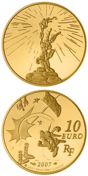 Image of 10 euro coin – Asterix | France 2007.  The Gold coin is of Proof quality.