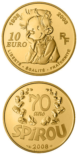 Image of 10 euro coin Spirou  | France 2008.  The Gold coin is of Proof quality.