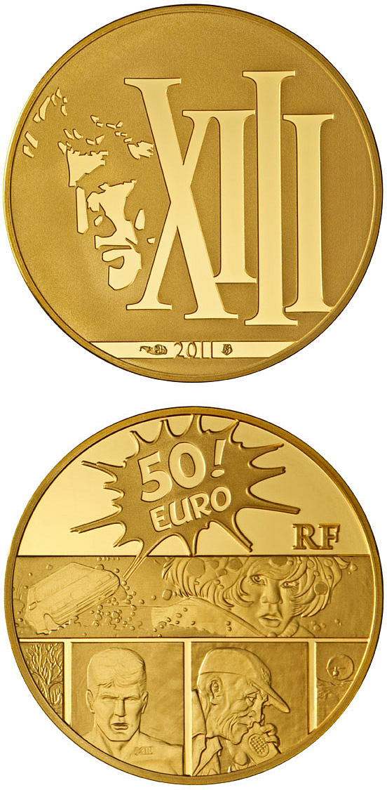 Image of XIII – 50 euro coin France 2011.  The Gold coin is of Proof quality.