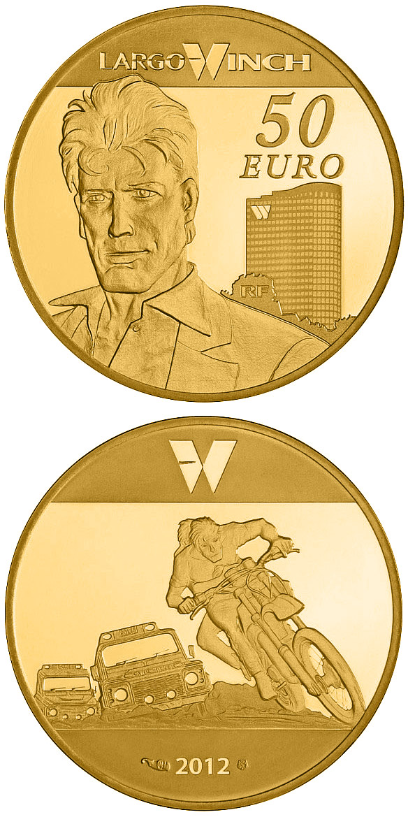 Image of 50 euro coin - Largo Winch | France 2012.  The Gold coin is of Proof quality.
