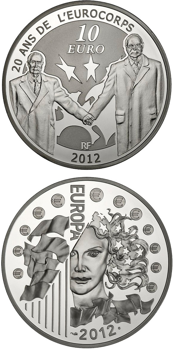 Image of a coin 10 euro | France | Franco-German friendship: celebrating 20 years since the creation of Eurocorps | 2012