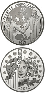 10 euro coin Franco-German friendship: celebrating 20 years since the creation of Eurocorps | France 2012