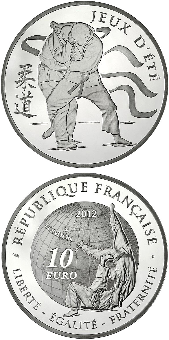 Image of 10 euro coin - Judo | France 2012.  The Silver coin is of Proof quality.