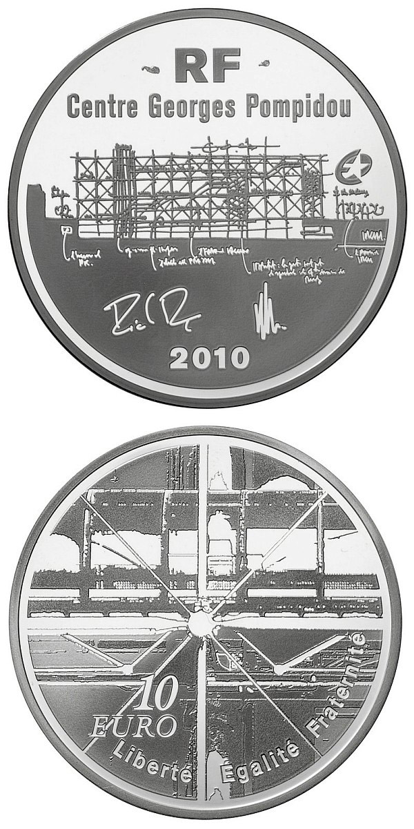 Image of 10 euro coin - European Architecture: Georges Pompidou Centre | France 2010.  The Silver coin is of Proof quality.