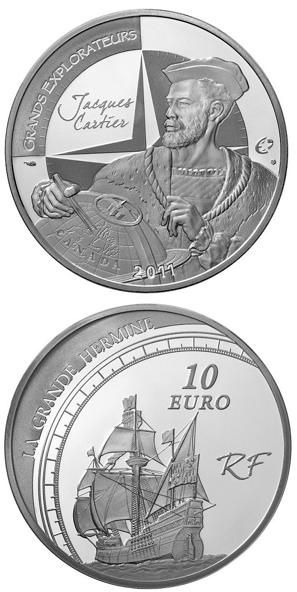 Image of 10 euro coin – European Explorers: Jacques Cartier | France 2011.  The Silver coin is of Proof quality.