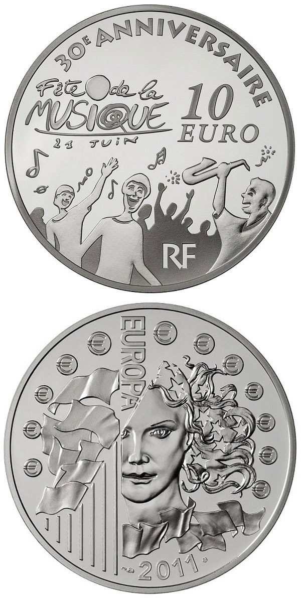 Image of 10 euro coin - 30 th anniversary of the International Music Day | France 2011.  The Silver coin is of Proof quality.