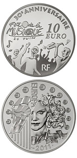10 euro coin 30 th anniversary of the International Music Day | France 2011