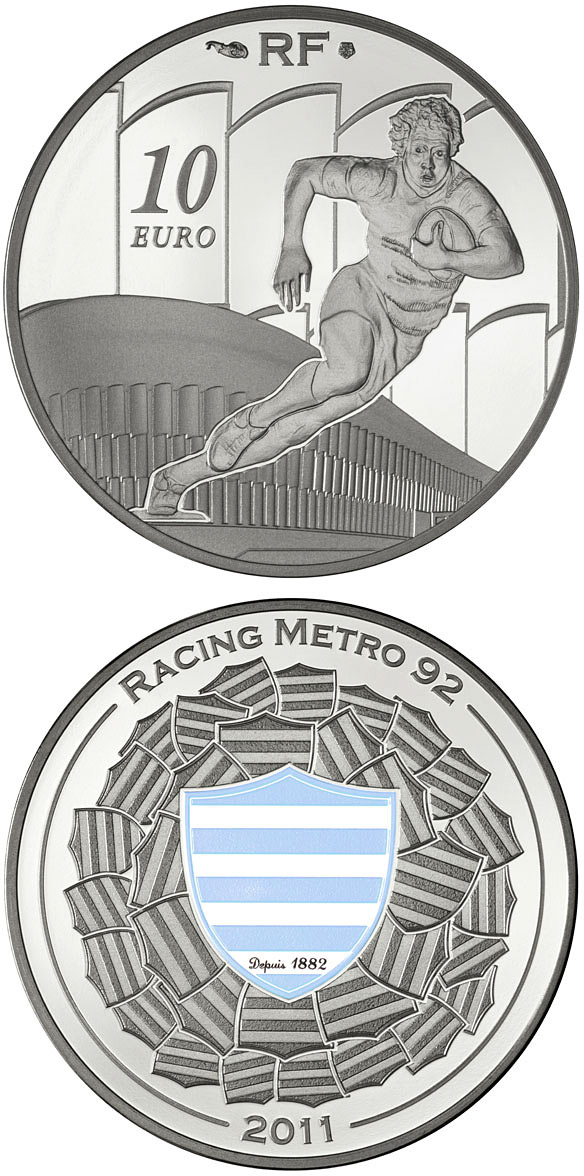 Image of 10 euro coin - Racing Métro 92 | France 2011.  The Silver coin is of Proof quality.