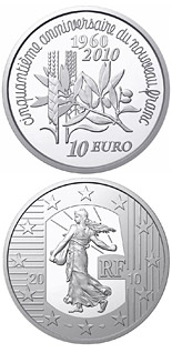 10 euro coin 50th Anniversary of the New Franc | France 2010