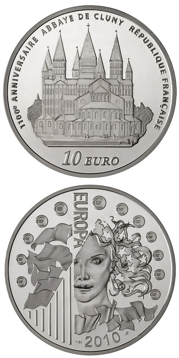 Image of 10 euro coin 100th anniversary of the Cluny Abbe | France 2010.  The Silver coin is of Proof quality.