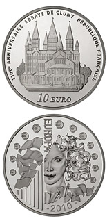 10 euro 100th anniversary of the Cluny Abbe - 2010 - Series: Europe - France