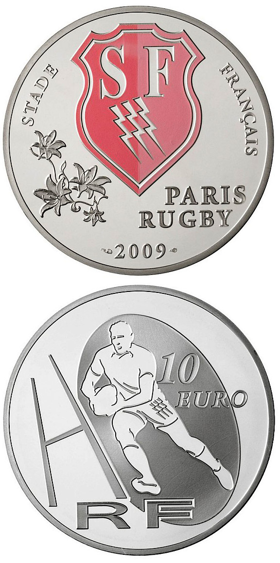 Image of 10 euro coin - Stade français | France 2009.  The Silver coin is of Proof quality.
