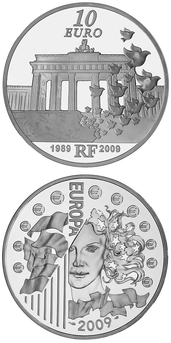 Image of 10 euro coin - 20th anniversary of the Fall of the Berlin Wall  | France 2009.  The Silver coin is of Proof quality.