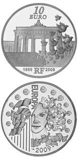 10 euro coin 20th anniversary of the Fall of the Berlin Wall  | France 2009