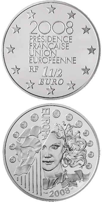 Image of 1.5 euro coin – French Presidency of the Council of the European Union | France 2008.  The Silver coin is of Proof quality.