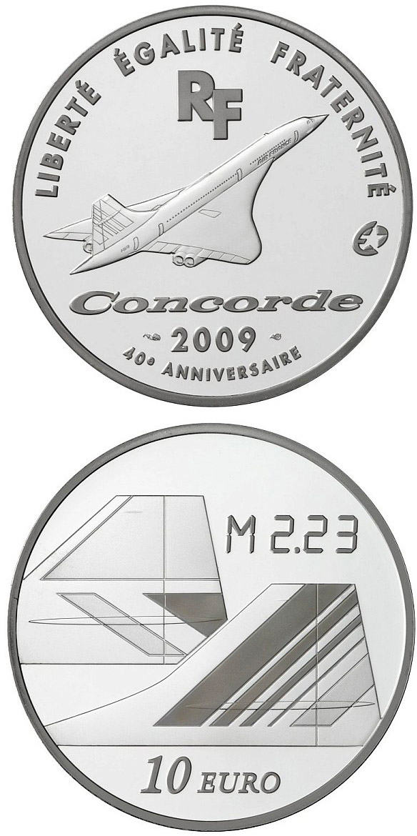 Image of Cultural Heritage: 40th Anniversary of the First Flight of Concorde  – 10 euro coin France 2009.  The Silver coin is of Proof quality.