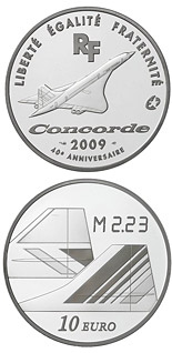 10 euro coin Cultural Heritage: 40th Anniversary of the First Flight of Concorde  | France 2009