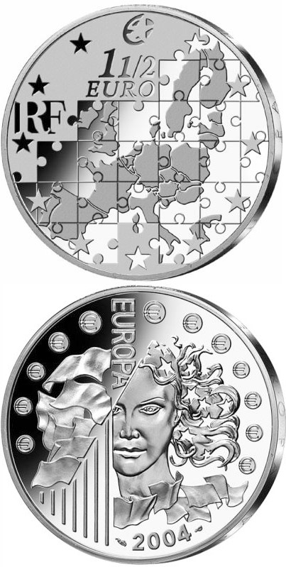 Image of Enlargement of the European Union  – 1.5 euro coin France 2004.  The Silver coin is of Proof quality.