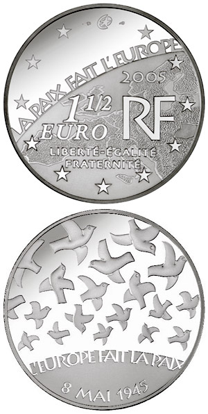 Image of 1.5 euro coin - 60 years Peace and Freedom  | France 2005.  The Silver coin is of Proof quality.