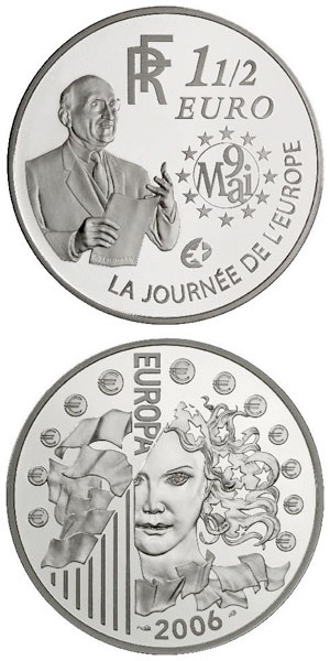 Image of 1.5 euro coin – 120th anniversary of the birth of the Robert Schuman  | France 2006.  The Silver coin is of Proof quality.