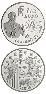 1.5 euro coin 120th anniversary of the birth of the Robert Schuman  | France 2006