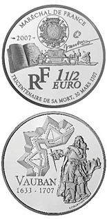 1.5 euro coin 250th Anniversary of the Death of Sébastien Le Prestre de Vauban | France 2007