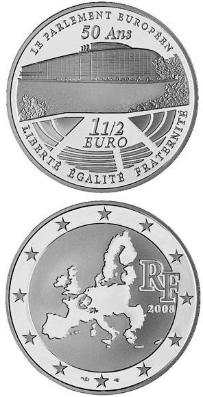 1.5 euro 50 years European Parliament  - 2008 - Series: European Silver Programme - France