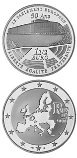1.5 euro coin 50 years European Parliament  | France 2008