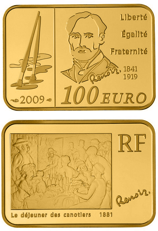 Image of 100 euro coin - Auguste Renoir | France 2009.  The Gold coin is of Proof quality.