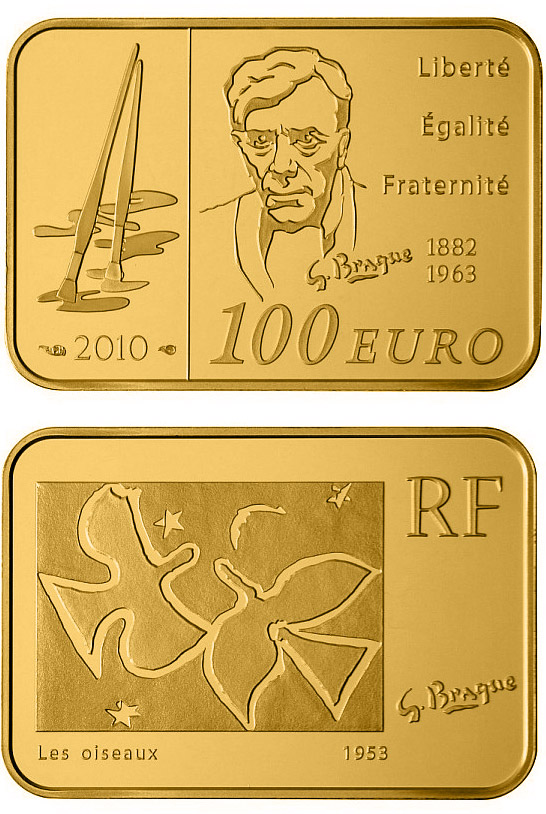 Image of 100 euro coin – Georges Braque | France 2010.  The Gold coin is of Proof quality.