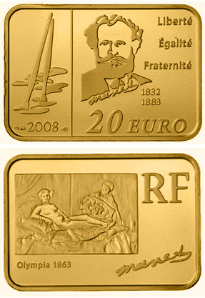 Image of 20 euro coin - Eduard Manet | France 2008.  The Gold coin is of Proof quality.