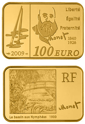 Image of Claude Monet  – 100 euro coin France 2009.  The Gold coin is of Proof quality.