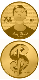 100 euro coin Andy Warhol | France 2011