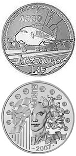 Image of 1.5 euro coin - Airbus A380  | France 2007.  The Silver coin is of Proof quality.
