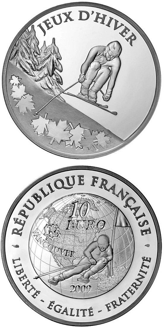 Image of 10 euro coin - Ski alpin | France 2009.  The Silver coin is of Proof quality.