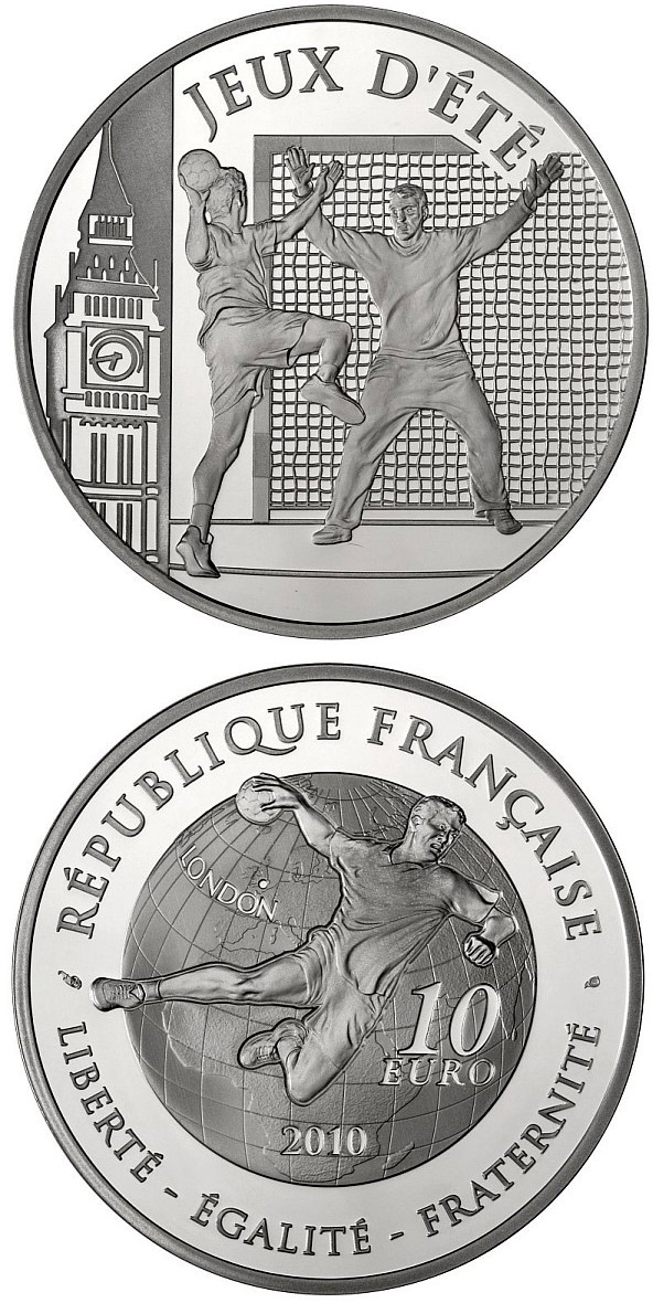 Image of 10 euro coin – Handball | France 2010.  The Silver coin is of Proof quality.