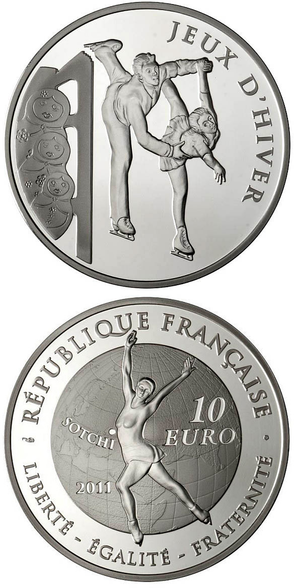 Image of 10 euro coin Figure skating | France 2011.  The Silver coin is of Proof quality.