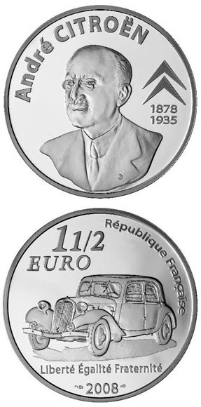 Image of a coin 1.5 euro | France | 130th Anniversary of the Birth of the André Citroën  | 2008