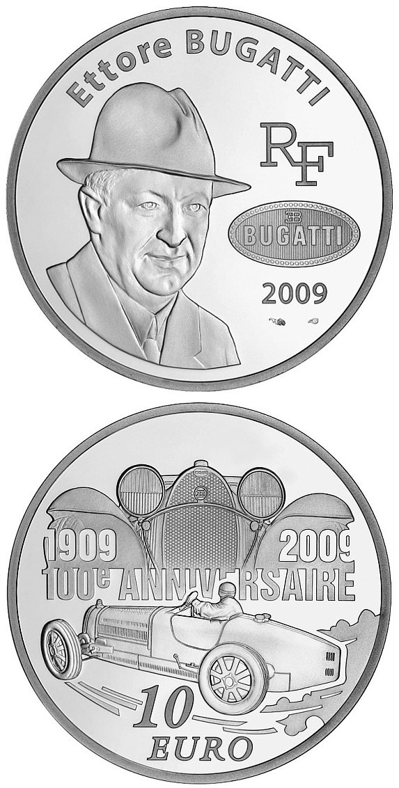 Image of 10 euro coin - 100 years of Bugatti cars | France 2009.  The Silver coin is of Proof quality.