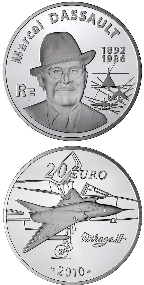 Image of 20 euro coin Marcel Dassault | France 2010.  The Silver coin is of Proof quality.