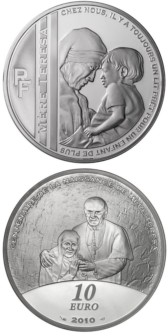 Image of 10 euro coin – 100th Anniversary of the Birth of the Mother Teresa | France 2010.  The Silver coin is of Proof quality.
