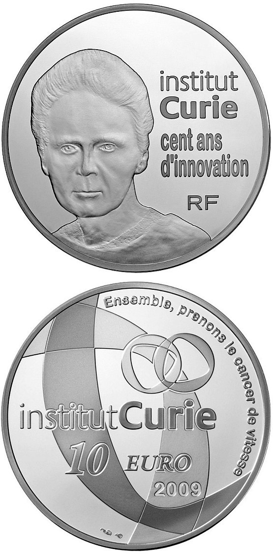 Image of 10 euro coin – Curie Institute | France 2009.  The Silver coin is of Proof quality.