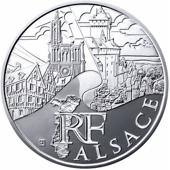 Image of Alsace – 10 euro coin France 2011.  The Silver coin is of UNC quality.