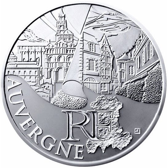 Image of 10 euro coin Auvergne | France 2011.  The Silver coin is of UNC quality.