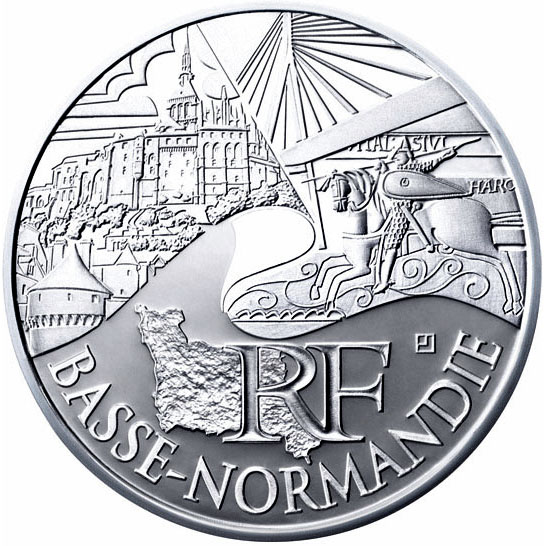 Image of 10 euro coin – Lower Normandy | France 2011.  The Silver coin is of UNC quality.