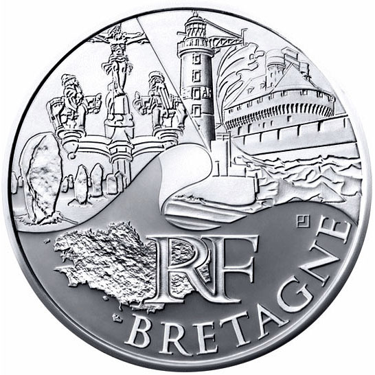 Image of 10 euro coin - Brittany | France 2011.  The Silver coin is of UNC quality.