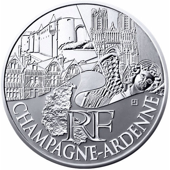 Image of 10 euro coin - Champagne Ardenne | France 2011.  The Silver coin is of UNC quality.