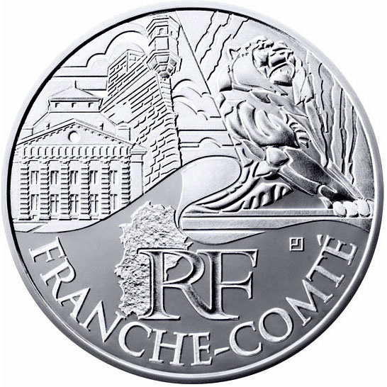 Image of 10 euro coin - Franche comte | France 2011.  The Silver coin is of UNC quality.